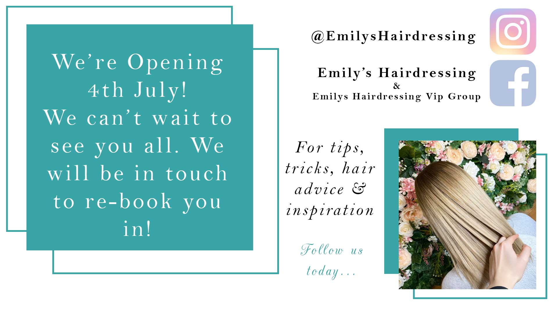 Emily's Hairdressing Appledore Re-Opening 4th July
